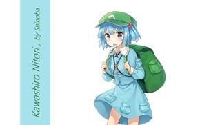 Картинка девочка, белый фон, кепка, рюкзак, touhou, голубые волосы, art, ключик, голубое платье, Touhou Project, Kawashiro ...