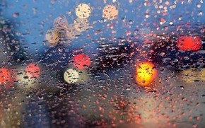 Картинка стекло, вода, капли, lights, огни, дождь, rain, night, bokeh, window, drops
