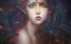 Картинка девушка, космос, туманность, эльф, эльфийка