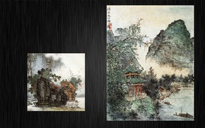 Картинка горы, река, лодка, китай, картина, восток