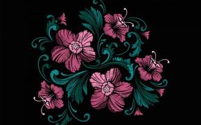Картинка цветы, розовые, чёрный фон
