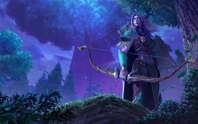 Картинка лес, девушка, эльф, Warcraft III: Reforged