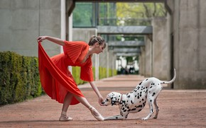 Картинка девушка, танец, собака