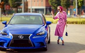 Картинка авто, поза, улыбка, стиль, фото, Lexus, туфли, красотка, плащ, Наталья, Татьяна Гуз