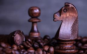 Картинка конь, кофе, шахматы, пешка, chess, coffee, кофе в зернах, деревянные шахматы
