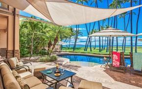 Картинка пальмы, вилла, бассейн, Гавайи, терраса, villa in Honolulu