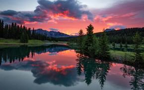 Картинка лес, небо, облака, закат, горы, отражение, скалы, берег, склоны, вид, вечер, ели, Канада, зарево, Альберта, …