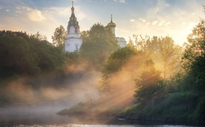 Картинка деревья, пейзаж, природа, туман, утро, церковь, купола, речушка