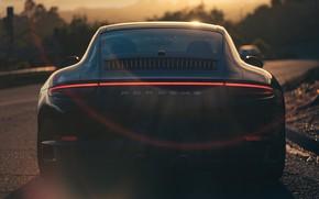 Картинка Закат, Авто, Черный, 911, Porsche, Машина, Блик, Carrera, Вид сзади, Porsche 911 Carrera S, Transport …