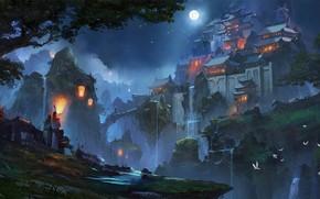Картинка Ночь, Рисунок, Луна, Дворец, Замок, Азия, Фантастика, Concept Art, Zudarts Lee, Environments, by Zudarts Lee