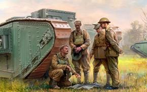 Картинка Танк, тяжелый танк, British Army, Танкисты, Mark I, Первая Мировая война
