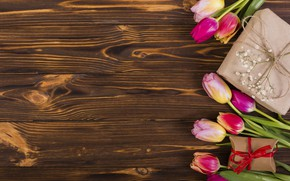 Картинка цветы, colorful, тюльпаны, розовые, wood, pink, flowers, tulips, spring, purple, gift box