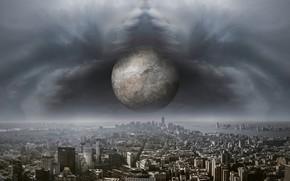 Картинка тучи, город, апокалипсис, планета, высота, буря, падение, Земля, ураган, торнадо, конец света, мегаполис, приближение