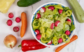 Картинка фото, Овощи, Перец, Тарелка, Еда, Лук репчатый, Морковь, Салат, Редис