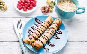 Картинка ягоды, малина, завтрак, блины, соус, шоколадный
