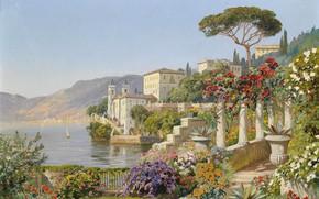 Картинка Alois Arnegger, австрийский живописец, Austrian landscape painter, oil on canvas, Алоис Арнеггер, Villa del Balbianello …