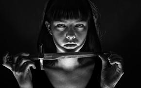 Картинка портрет, нож, девочка