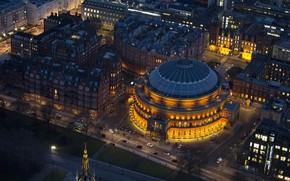 Обои ночь, огни, Англия, Лондон, панорама, концертный зал, Альберт-холл