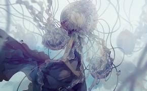 Картинка девушка, медузы, под водой