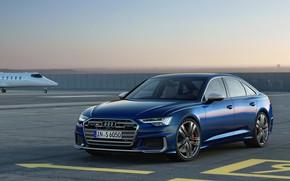 Картинка синий, Audi, аэропорт, седан, Audi A6, 2019, Audi S6