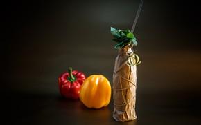 Картинка бутылка, коктейль, перец, мята, mojo