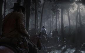 Картинка лес, ночь, лошадь, шляпа, Rockstar, Бандит, Red Dead Redemption 2, Arthur Morgan