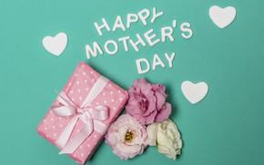 Картинка цветы, подарок, надпись, сердечки, Зеленый фон, Счастливый, День Матери