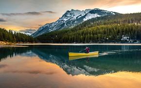 Картинка лес, свет, горы, озеро, отражение, синева, берег, лодка, ели, Канада, пловец, мужчина, водоем, национальный парк, …
