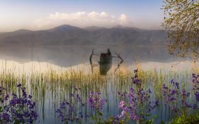 Картинка облака, цветы, горы, ветки, туман, озеро, отражение, берег, лодка, вершины, человек, весна, утро, дымка, мужчина, …