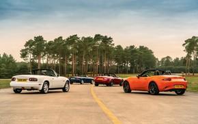 Картинка дорога, Mazda, MX-5, родстеры, четыре поколения (NA-NB-NC-ND)