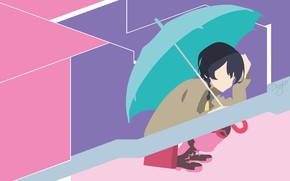 Картинка минимализм, зонт, девочка, сидит