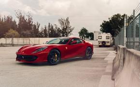 Картинка Ferrari, Sunset, Scuderia, Grid, RED, Superfast, 812