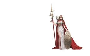Картинка Girl, Fantasy, Beautiful, Sexy, Art, Style, Owl, Minimalism, Characters, Dress, Shield, Spear, Figure, Daeho Cha, …