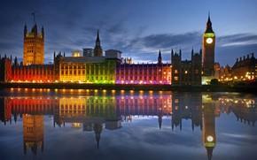 Картинка ночь, огни, река, Англия, Лондон, башня