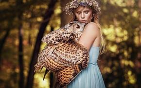Обои лес, девушка, свет, деревья, цветы, природа, лицо, фон, друг, сова, птица, крылья, блондинка, дружба, венок, ...