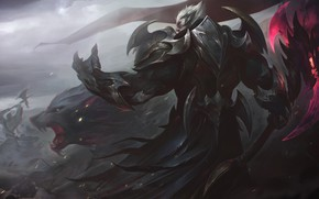 Картинка Флаг, Воин, Топор, Волк, Битва, Броня, Арт, League of Legends, LoL, Artwork, Лига Легенд, Darius, …
