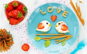 Обои завтрак, клубника, breakfast, бутерброды, Valentines Day, сладкие палочки