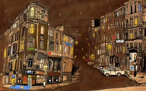 Картинка город, улица, рисунок, Berlin