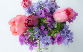 Картинка букет, тюльпаны, колокольчики, светлый фон, незабудки, лунник