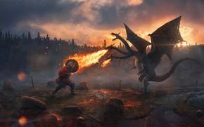 Обои лес, закат, камни, пламя, меч, кости, богатырь, доспех, русь, Змей Горыныч, Evgenij Kungur