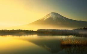 Картинка утро, Fuji, гора Фудзи, Lake Yamanaka, озеро Яманака