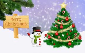 Картинка Grafika, Śnieg, Choinka, Iwięta