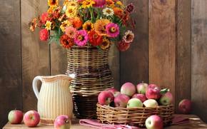 Картинка осень, цветы, яблоки, букет, colorful, фрукты, натюрморт, flowers, autumn, fruit, still life, bouquet