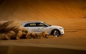 Картинка песок, белый, Audi, скорость, E-Tron, 2019