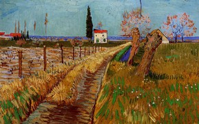 Картинка Винсент ван Гог, a Field with Willows, Path Through