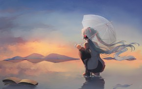 Картинка вода, девушка, зонт, Hatsune Miku, Vocaloid
