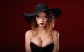 Картинка girl, cleavage, long hair, dress, hat, brown hair, brown eyes, breast, photo, photographer, model, lips, …