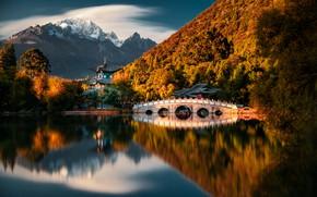 Картинка горы, озеро, Китай, пагода