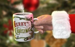 Картинка зима, фон, праздник, чай, рука, кукла, Рождество, кружка, Новый год, напиток, Санта Клаус, Дед Мороз, …