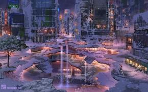 Картинка зима, Токио, руины